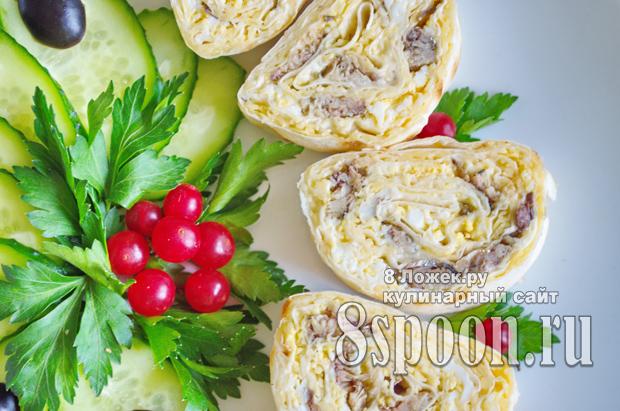 Рецепт закуски в лаваше со шпротами и сыром