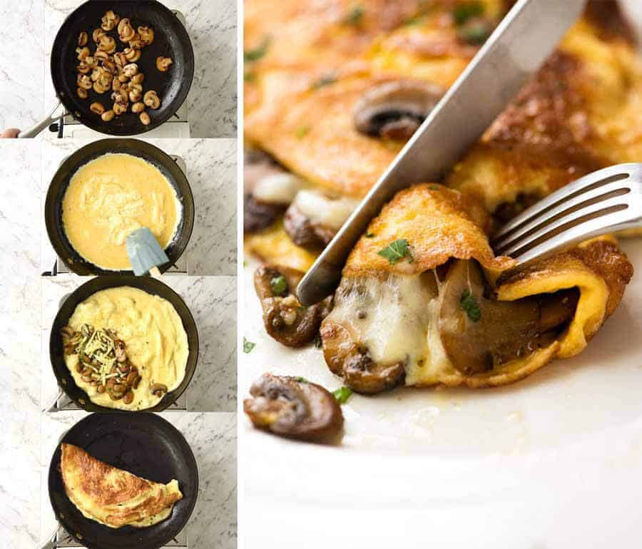 Preparation steps for an omelette with garlic butter mushrooms